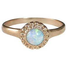 10k Rose Gold Edwardian Fiery Opal Baby Ring