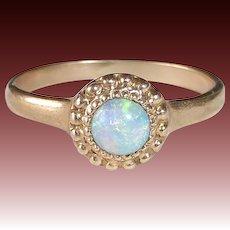 10k Rose Gold Edwardian Fiery Opal Baby Ring