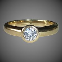 14k Bezel Set .43 Diamond Ring