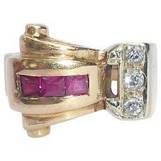 Chunky Retro 14K Sculptural Gold Ring Diamonds & Rubies