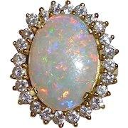 18k Opal Ring Framed w Diamonds