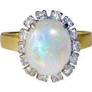 18k Fiery Opal Ring Framed w Diamonds