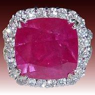 18k Diamond & 10ct Ruby Dinner Ring
