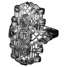 Art Deco 14k White Gold Filigree Diamond Pinky Ring