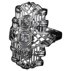 Art Deco 14k White Gold Filigree Diamond Pinky Ring