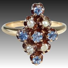 Antique 10k Victorian Ring Sapphires & FW Pearls