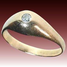 Edwardian 10k Baby Ring w Mine Cut Diamond
