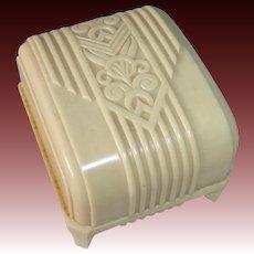 Art Deco Celluloid & Silk Hinged Presentation Ring Box