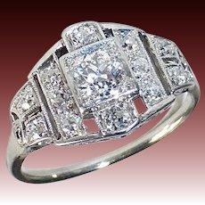 Art Deco Platinum & Diamond Ring Stepped Setting