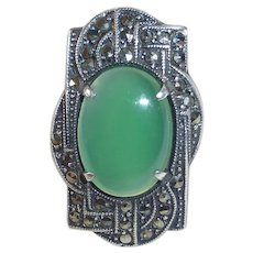 Art Deco Sterling Marcasite & Chrysoprase Ring
