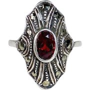 Art Deco Sterling Ring Garnet & Marcasite
