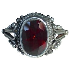 Sterling & Garnet Handcrafted Ring