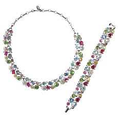 Lisner Multi Color Pastel Rhinestone Bracelet & Necklace Set