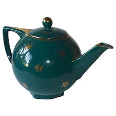 1940s Hall 6 Cup Gold Gilt Star Tea Pot