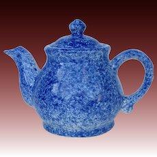 Blue Spongeware Ceramic Teapot