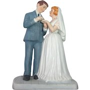 Vintage Bisque Wedding Cake Topper c1980s