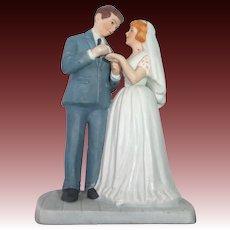 Vintage Bisque Wedding Cake Topper c1980s