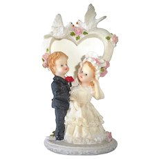 Vintage Wedding Cake Topper Child Like Bride & Groom