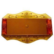 Art Deco Etched Amber Glass Dresser Tray Carved Bakelite Handles