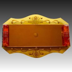 Art Deco Etched Amber Glass Dresser Tray Carved Bakelite Handles