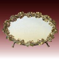Mirrored Dresser Tray w Sculptural Gilt Hibiscus Frame
