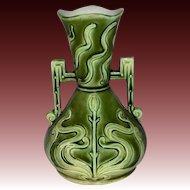 European Majolica Art Nouveau Vase Double Handles