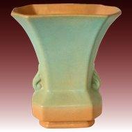 Redwing Rumrill Pottery Blended Glaze Vase in Goldenrod & Sage Green