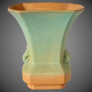 Redwing Rumrill Pottery Blended Glaze Vase in Goldenrod & Sage Green