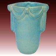 Aqua Blue Ceramic Vase with Draped Design