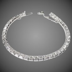 Art Deco Rhodium Plate Line Bracelet w Paste