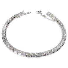 Art Deco Rhodium Plate Line Bracelet w Paste