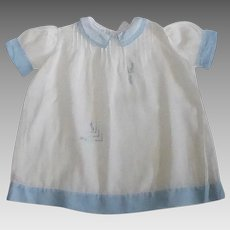 Sheer Cotton Embroidered Blue & White Baby Dress