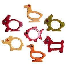 Set of 7 Bakelite Animal Napkin Rings with Eyes