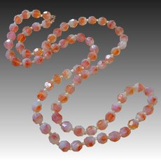 Art Glass Bead Necklace Milky~Orange~Clear Faceted Beads
