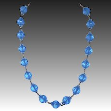 Faceted & Etched Translucent Blue Art Glass Bead Necklace