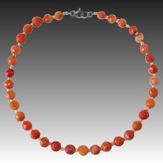 Antique Faceted Carnelian Agate Bead Necklace