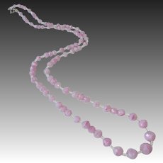 Pink Swirl Long Graduated Faceted Art Glass Bead Necklace