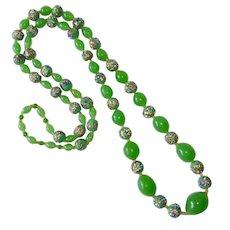 Art Deco Spring Green Murano Art Glass Bead Necklace