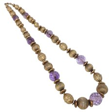 Antique Green Gold Filled & Amethyst Bead Necklace