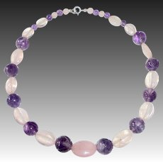 Art Deco Chinese Rose Quartz & Carved Amethyst Bead Necklace