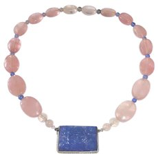Art Deco Rose Quartz Bead Necklace Carved Chalcedony & Sterling Pendant