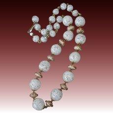 White & Gold Swirl Art Glass Bead Necklace