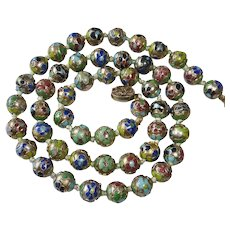 Chinese Raised Enamel Cloisonne Knotted Bead Necklace