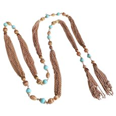 Gold Tone Metal Multi Chain & Glass Bead Belt or Necklace