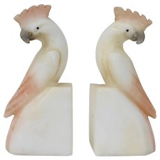 Mid Century Italian Hand Carved Alabaster Cockatiel Bookends
