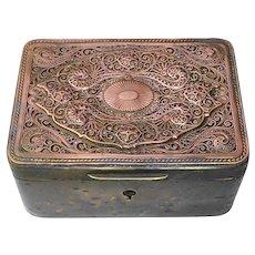 Antique Victorian Brass Trinket Box w Filigree Copper Top