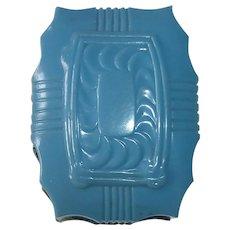 Art Deco Blue Celluloid Silk & Velvet Ring Box