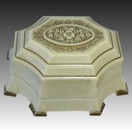 Art Deco Fancy Celluloid Silk & Velvet Ring Presentation Box