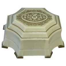 Art Deco Fancy Celluloid Silk & Velvet Ring Presentation Box