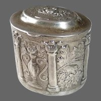 Small Sterling Oval Hinged Pill Box w Embossed Design